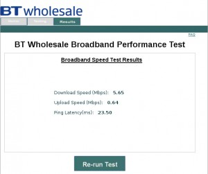 Home ADSL speed test