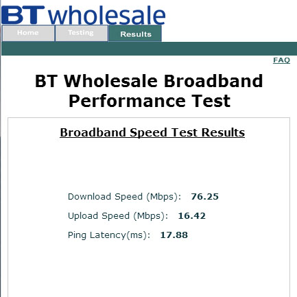 BT Infinity speed test result on BT Wholesale
