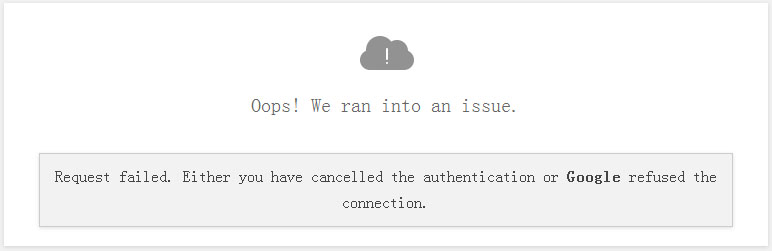 Google authentication failed